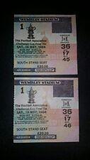 2x 1984 ORIGINAL FA CUP FINAL TICKETS EVERTON v WATFORD  CONSECUTIVE Seat