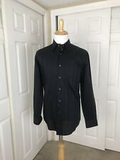 ZANELLA Made In Italy Button Front Dress Shirt Long Sleeve Black Sz L