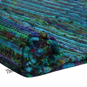 2x5 Indian Multi Blue Cotton Chindi Rug New Yoga Mat Multicolor Rugs & Carpet