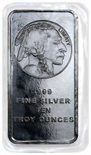 10 Troy oz .999 Fine Silver Bar American Indian - Buffalo Design SKU28953