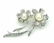 Silver Ivory White Pearls Two Flowers Bridal Wedding Corsage Brooch Pin Br264