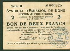NECESSITE 2 FRANCS EMISSION DE BONS  REGION DE POIX TERRON ETAT: TTB lot 510