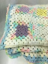 "Crochet Afghan Blanket Pastel Colors Hand Made  43"" by 72"""
