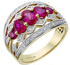 0.89CT NATURAL DIAMOND 14K YELLOW GOLD RUBY WEDDING ENGAGEMENT COCKTAIL RING
