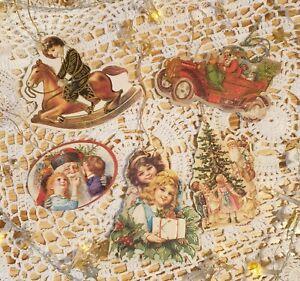 Vintage Set of 5 Cardboard Christmas Tree Decorations - Hanging Decoration