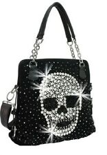 Extra Bling Rhinestone Skull Pirate Messenger Bag Cross Body Purse Black