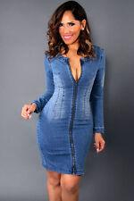 Abito a cono aperto aderente jeans Zip Scollo Cutout Back Denim Bodycon Dress M