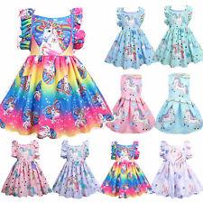 Girls Unicorn Dress Children Kids Party Tutu Dresses Princess Summer Holiday AU