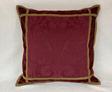 """Ralph Lauren VENETIAN COURT Jacquard Burgundy Velvet/Leopard 18"""" Pillow W/Insert"""