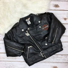 Boy's Harley Davidson Size 4T Embroidered Faux Leather Moto Jacket Multi