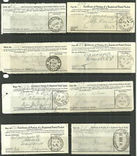 8 X CERTIFICATE OF POSTING OF A REGISTERED POSTAL PACKET 1909/49 NORWOOD ETC