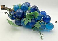 Vintage Lucite Acrylic Grape Cluster Aqua Teal Blue & Pearlized Blue MCM 20-2851