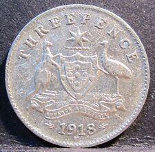 1918 M Australia 3d Threepence #3018 * =HIGH GRADE=