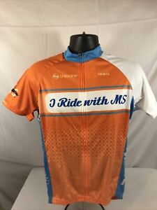 """New Primal Cycling Men's Size M """"I Ride With MS"""" Full Zip Jersey 3 back Pockets"""