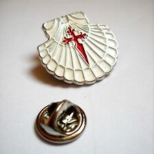Camino de Santiago Scallop Shell - St James Cross Pilgrim Vieira lapel Pin