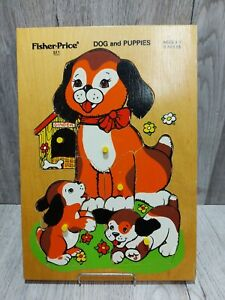 Fisher Price Dog and Puppies Wood 8pc Peg Puzzle 511 Vintage 1976 Quaker Oats