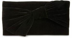 INC Bowah Black Clutch Hands Through with strap Velvet Handbag