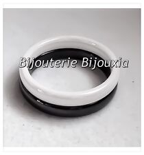 Bagues Double Alliances En Céramique-Couleur Blanc&Noir T50-52-54-56-58-60 CDE