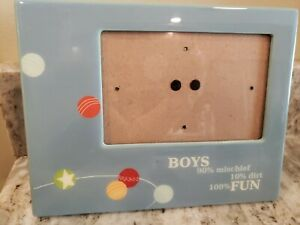 Kids Baby Boys Blue Picture Gift Frame 4 x 6 EUC