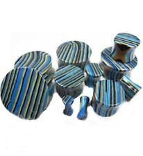 "PAIR-Stone Agate Blue Stripe Double Flare Ear Plugs 18mm/11/16"" Gauge Body Jewe"