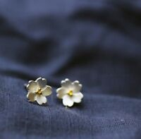 Adorable Tiny Flower Cherry Blossom Silver SP Stud Earring