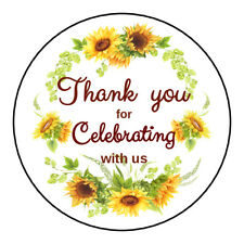 20 Sunflower Labels Birthday Wedding Sunflowers Party Favors Stickers