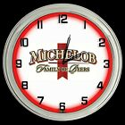 """16"""" Michelob Family of Beers Sign Red Neon Clock Man Cave Garage Bar Game Room"""