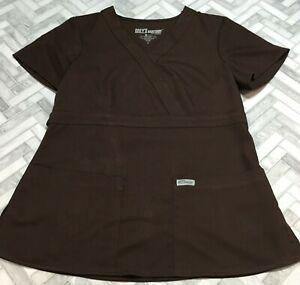 Greys Anatomy Active Scrub Top Shirt Small Medical Brown Pocket Barco Short Slv
