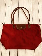 Longchamp Vintage Le Pliage Burgundy Red Large Shopper Shoulder Tote Travel Bag