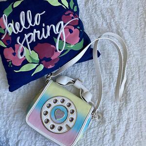 Betsey Johnson Phone Crossbody Kitsch Telephone Bag Call Me Hotline Pastel Retro