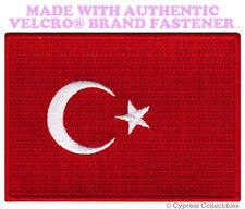 TURKEY NATIONAL FLAG PATCH TURK TURKISH EMBROIDERED w/ VELCRO® Brand Fastener