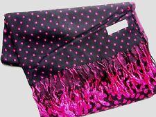 NEW Pashmina Winter Scarf Scarves Silk Black Sm Magenta Pink Polkadot Shawl Wrap