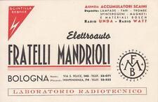 8089) BOLOGNA, ELETTRAUTO E LABORATORIO RADIOTECNICO FRATELLI MANDRIOLI.