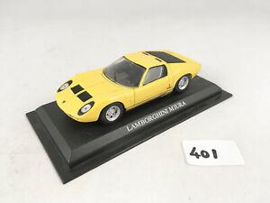DEL PRADO 1966 LAMBORGHINI MIURA 1:43 SCALE DIECAST MODEL CAR ON STAND YELLOW