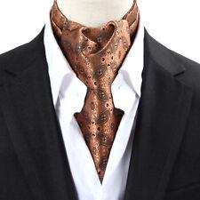 NEW  Men's Silk Cravat Ascot Tie Tan Floral Self-tied Scarves Scarf  Neck Tie