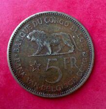 Congo Belge  - Leopold III - très jolie monnaie de 5 Francs 1936 - Lion (2)