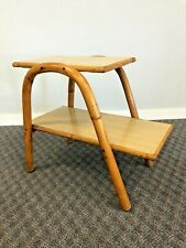 Vintage Mid Century Modern SIDE TABLE bamboo bentwood boho chic wood tier 50 60s
