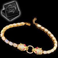 Echter Welo Opal Raubkatze Armband 925 Silber Schmuck für Frauen Damen Gold M42