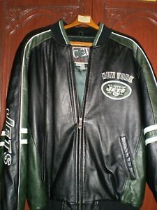 NEW YORK JETS CARL BANKS REAL LEATHER JACKET .