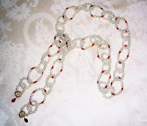 MIRIAML HANDMADE CULTURED PEARL RUBY 22K GOLD LARIAT NECKLACE