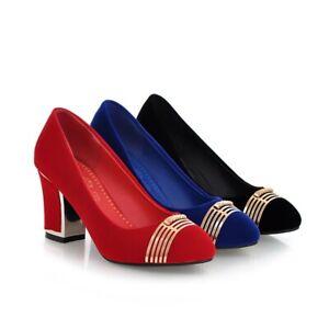 Women's High Heel Shoes Fashion Metal Black/Blue/Red Faux Suede Almond Toe Pumps