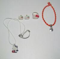 Lot Bague + Bracelet + Boucles + Collier Pendentif Hello Kitty Blanc & Orange