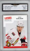 GMA 10 Gem Mint ERIK KARLSSON 2009/10 UD Upper Deck Victory ROOKIE SHARKS !