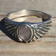 Eagle Wing Ring .925 Sterling Silver Small Sz 7 w/ Natural Rose Quartz gemstone