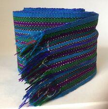"Vintage Retro Detailed needlework Blue, Purple, Green Wide Belt Xlarge 81"" Long"