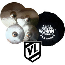 "Wuhan Cymbal Set - 16""  20"" 14"" HH & Cymbal Bag - Crash, Ride, Hi-Hats - NEW"