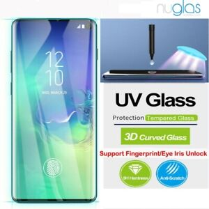 NUGLAS Note S21 20 Ultra S10 S9 8 + Screen Protector Full UV Glue Tempered Glass