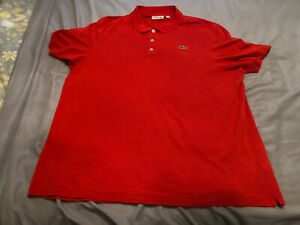 XXL SIZE 8 RED LACOSTE SHORT SLEEVE POLO SHIRT..80'S CASUALS..TERRACEWEAR