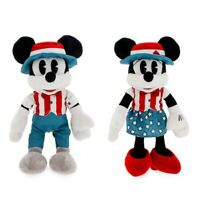 "Disney Authentic Mickey & Minnie Mouse Americana Plush Toy 2pc Set 11"" H NWT"