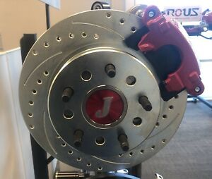 """Ford 9"""" Inch S/B Bearing Rear Disc Brake Kit Drilled/Slotted Rotors Red E-Brake"""